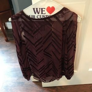 WHBM maroon, cold shoulder sheer blouse